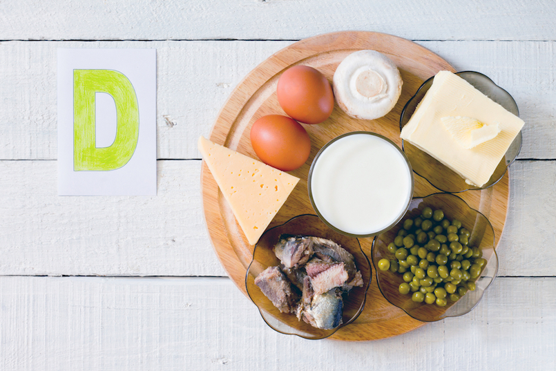 Foods containing vitamin D- cheese, eggs, mushrooms, milk, butter, peas, canned in oil